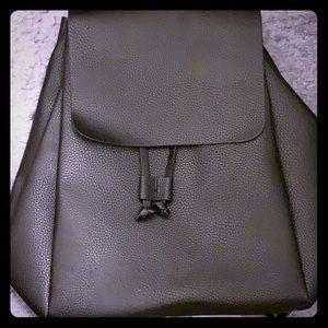 Zara Black Backpack with Foldover Flap 2015 NWT